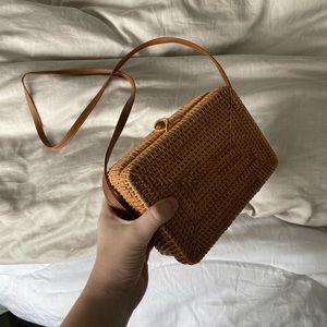 Handmade Woven Straw Rattan Crossbody Bag